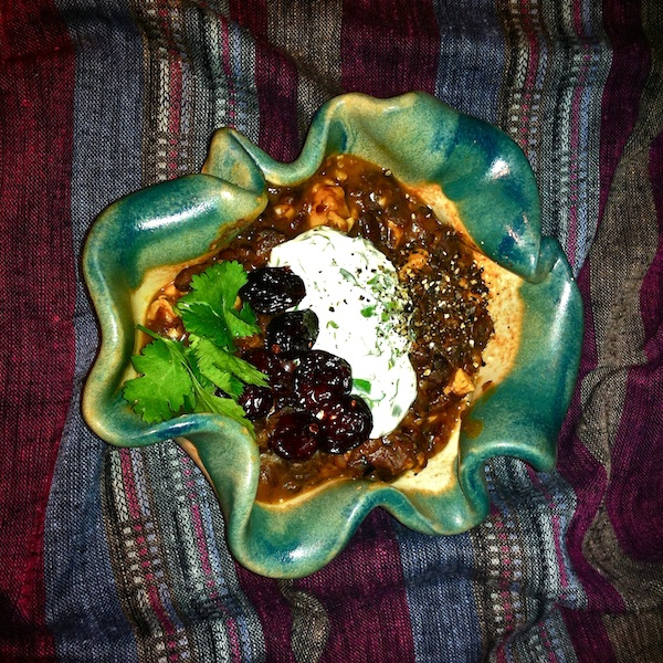 Cranberry-Chipotle Chili with Cilantro-Lime Sour Cream