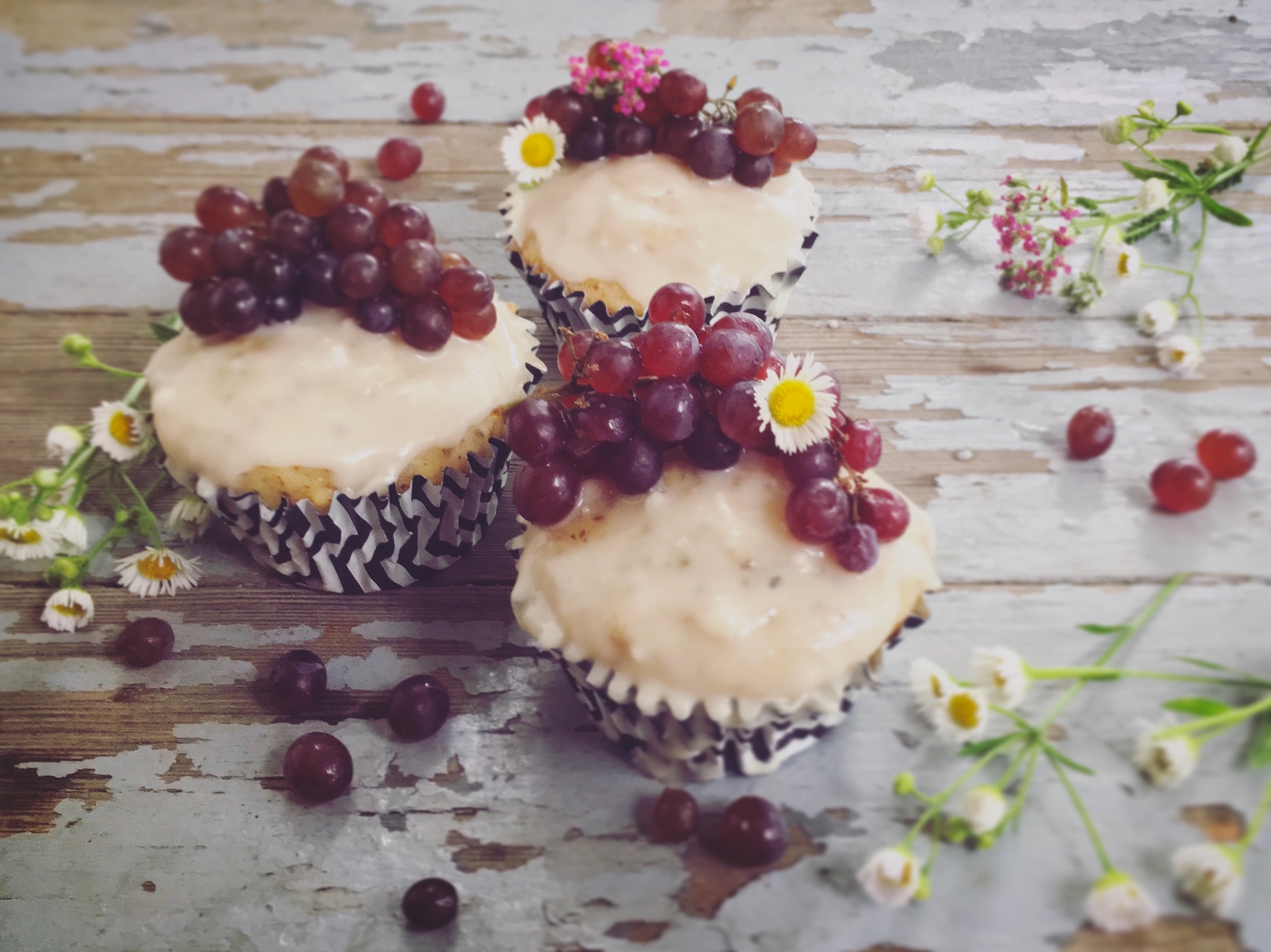 French Vanilla and Champagne Grape Cupcakes