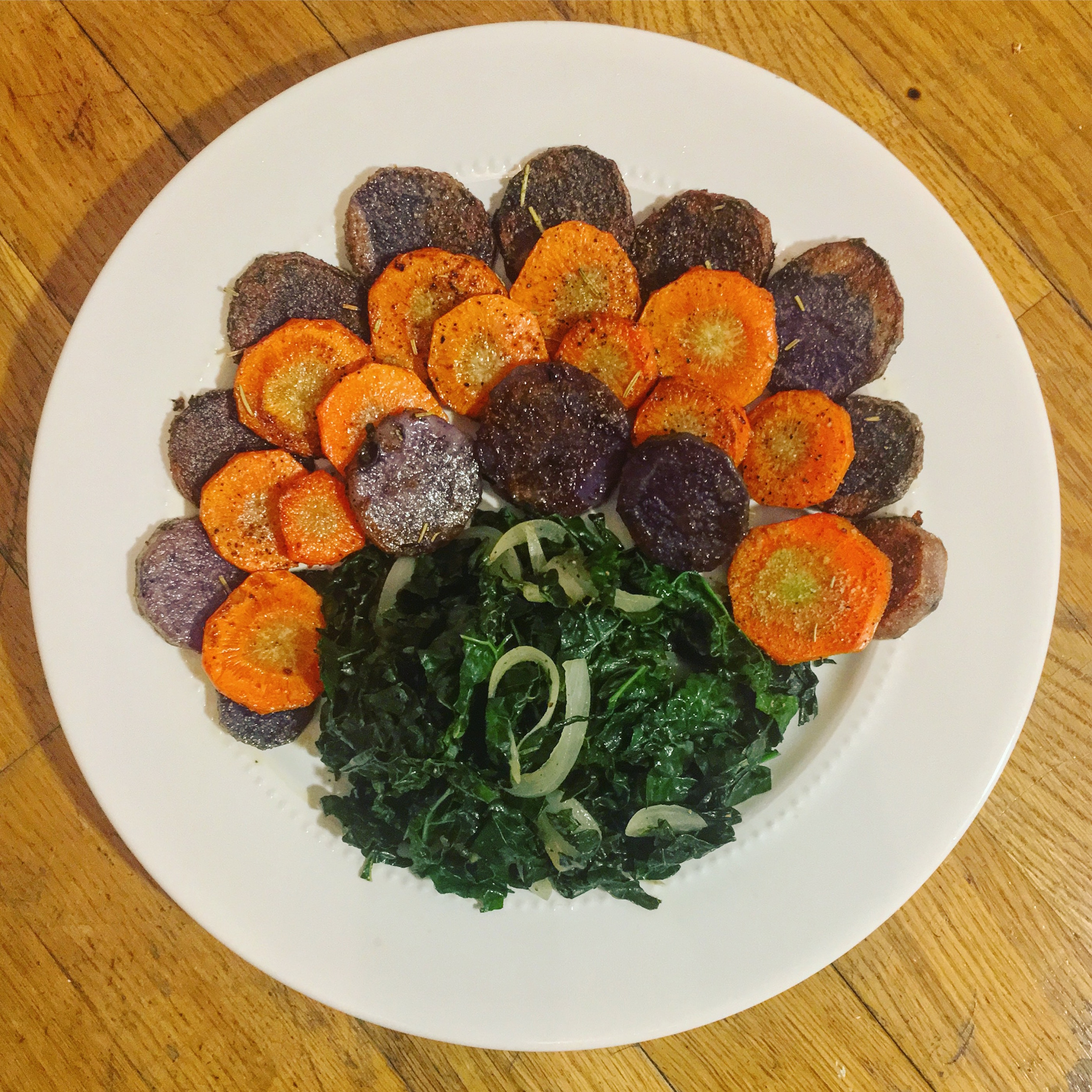 Purple Sweet Potato, Carrots and Kale